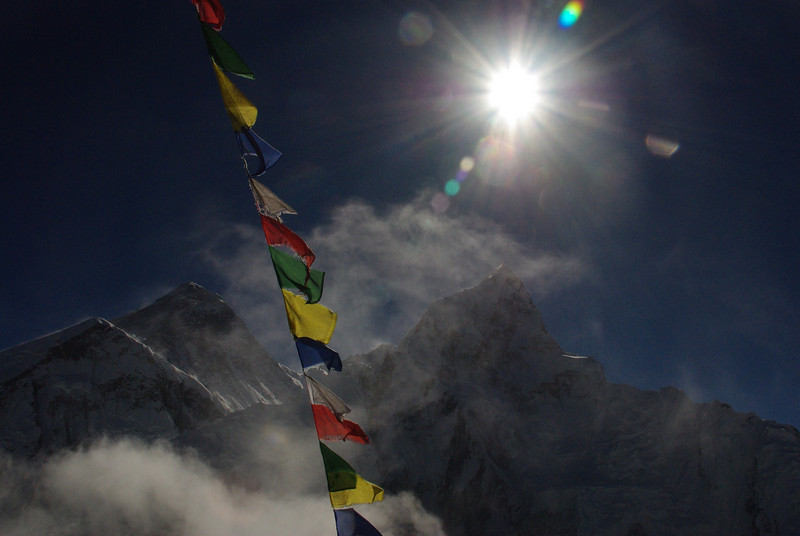 Everest Panorama under real Tibetean prayer flags