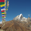 Tibetean Prayer flags looking towards Namche Bazaar