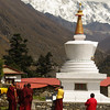 Monks at Tengboche, Everest and Lhotse beyond