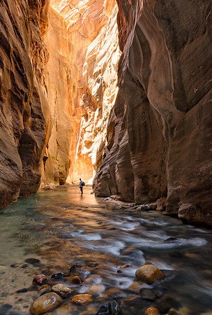 Hiking the Narrows in Zion National Park. Honorable Mention, Photo Travel, N4C Sept 2015; 2nd place in Travel Prints, Best of N4C 2016.