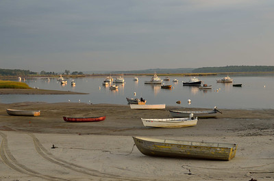 Boats moored in the cove at Pine Point, Scarborough, Maine, August 2012