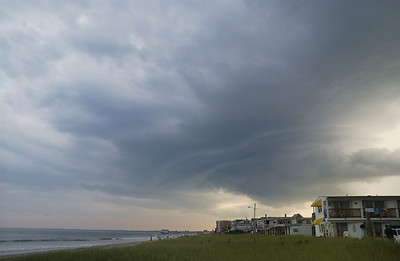 Storm clouds pass just south of Old Orchard Beach Maine from a summer storm that produced a small tornado near coastal New Hampshire.