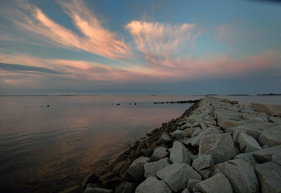 Dusk at the jetty, Camp Ellis, Saco Maine, August 2012