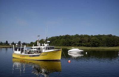 A fishing boat moored in Kennebunkport, Maine.