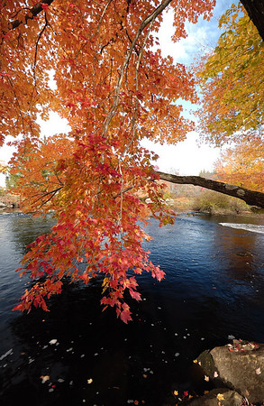 Fall foliage at Birch Hill Dam, Royalston, Mass.