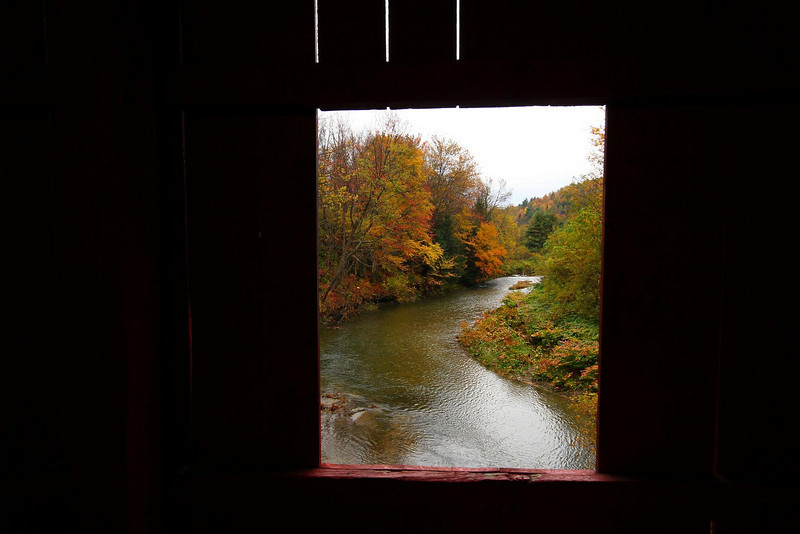 The Dog River, viewed to the South from the Slaughterhouse bridge, in Northfield Falls, Vermont..