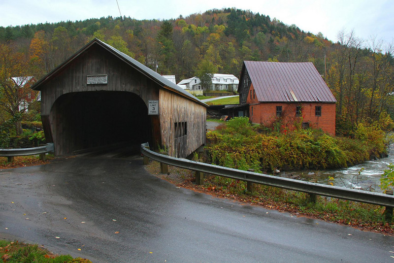 The Mill Bridge in Tunbridge, Vermont. Elsewhere in this gallery is another photo of it with an interesting history anecdote.