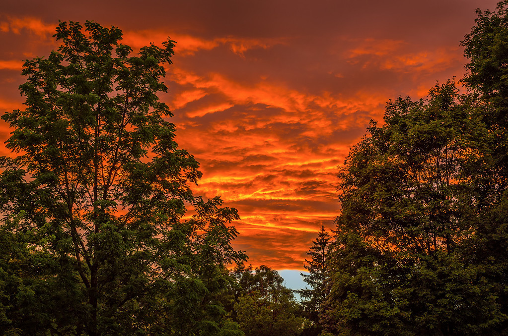 Summer Sunset Fire in the Clouds - Hopkinton, MA