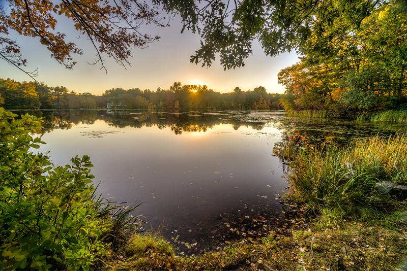 Hopedale Parklands Sunset Peeking - Hopedale MA - Tom Sloan
