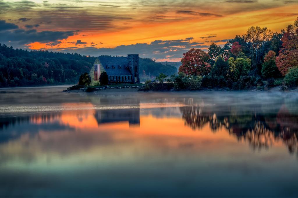 Old Stone Church Sunset and Fog - West Bolyston, MA