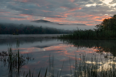 Our first morning brought brief sunrise color over a foggy Kent Pond, in Killington, VT.