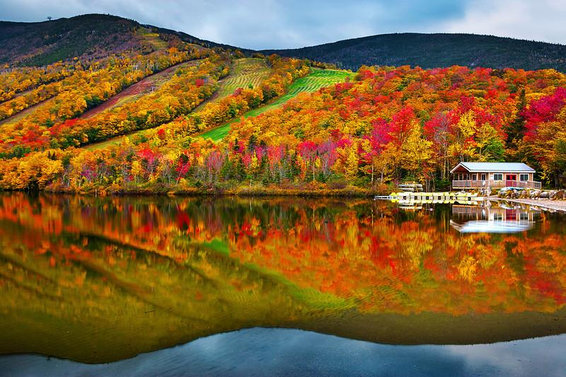 Ecko Lake, Fall Colors, Franconia Notch State Park, New Hampshire, 新罕布什尔州, 秋色