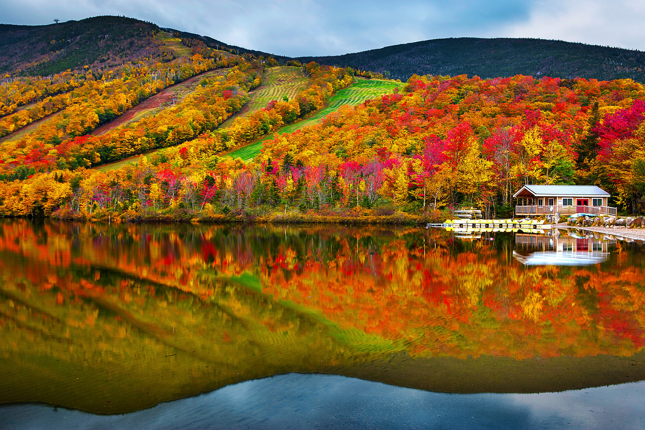Ecko Lake, Fall Colors, Franconia Notch State Park, New Hampshire, 新罕布什尔州, 秋色