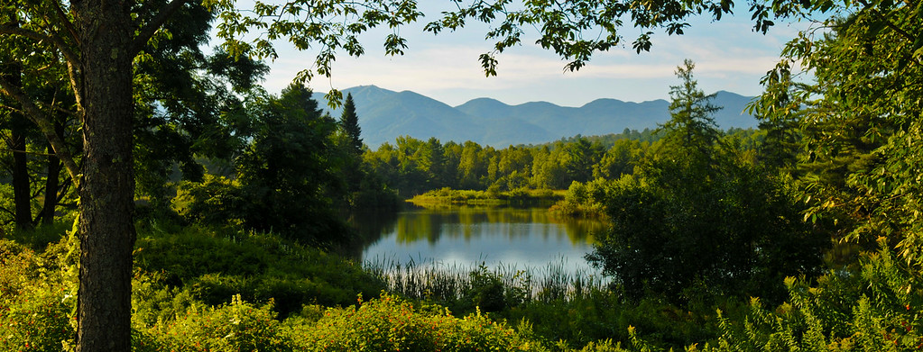 Fall 2008, Coffin Pond with Cannon Mt., the Cannon Balls, and Kinsman, Franconia, NH.