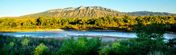 Sandia Mountains seen from the west side of the Rio Grande.