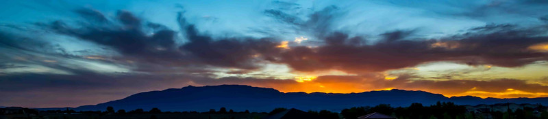 Sunrise over the Sandia Mountains.