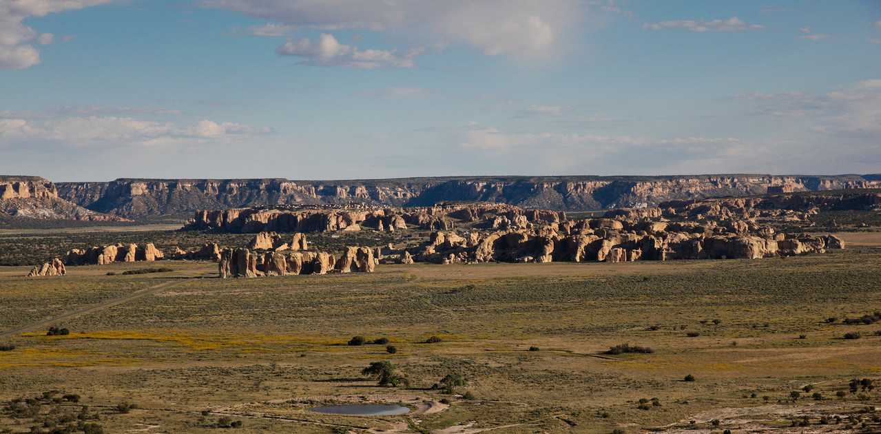 View to Acoma Pueblo (on top of the mesa in the center of the photo)