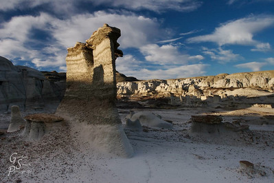 At sunrise, I was in a large field of hoodoos and shot this double-headed hoodoo as the sun hit.