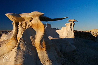 I wandered far north on the Bisti wilderness to find these stone wings.  I had seen pictures of them and was determined to discover them.  After climbing multiple hills in the badlands, I finally saw them in the distance and got there just as the sun was setting.  If you would like some directions, e-mail me for more information.