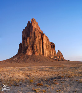 Shiprock at sunrise. There was a bit of haze in the atmosphere from some wildfires that had been burning in California at this time. I think the colors were a little bit different because of that.