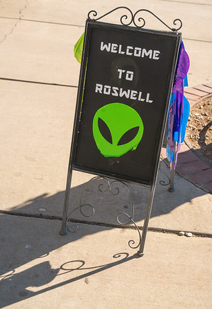 Alien Welcome to Reswell sign at Roswell, New Mexico