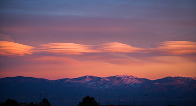 Lenticular clouds over the Sangre de Cristo Mountains
