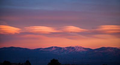 Lenticular clouds over the Sangre de Cristo Mountains