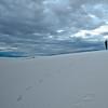 www.ericabbottphotography.com<br /> <br /> D'Ann Carle Abbott hiking the White Sand White Sands National Monument - Managed by White Sands Park Rangers last week.