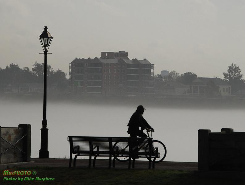 French Quarter Moonwalk on the foggy Mississippi River