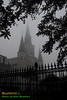 St. Louis Cathedral, Jackson Square, New Orleans French Quarter, foggy morning