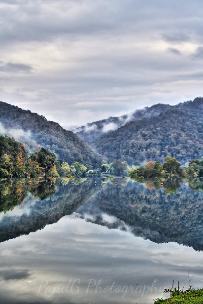 Reflections of clouds, Kanawha Falls, Wv