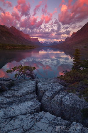 Sunrise Reflections, Saint Mary Lake, Vertical