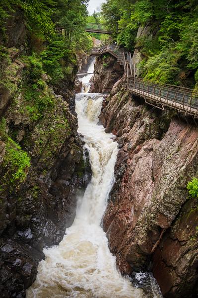 Boardwalk and Waterfalls at High Falls Gorge, Adirondack Mountains