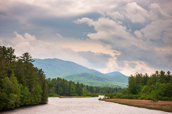 River and Cloudscape at the Adirondack Mountains