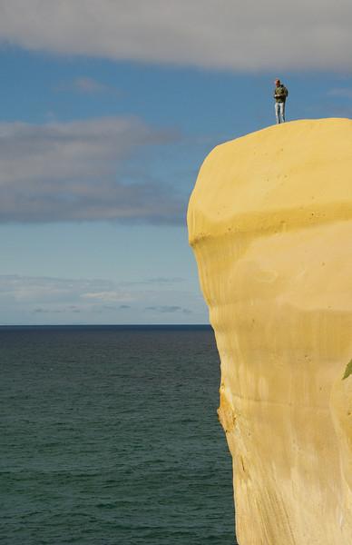 Jan on a peace of rock, Dunedin