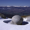 Granite boulders on the north ridge of Mt Titiroa. The Takitimu Mountains in the background