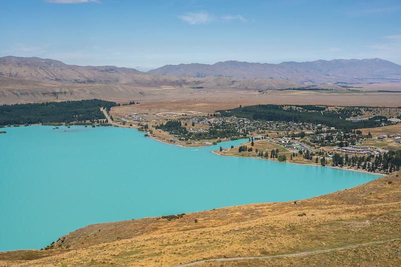 Lake Tekapo township from Mt John