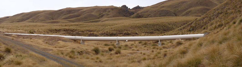 Lammermoor Range. Dunedin's water supply pipeline.