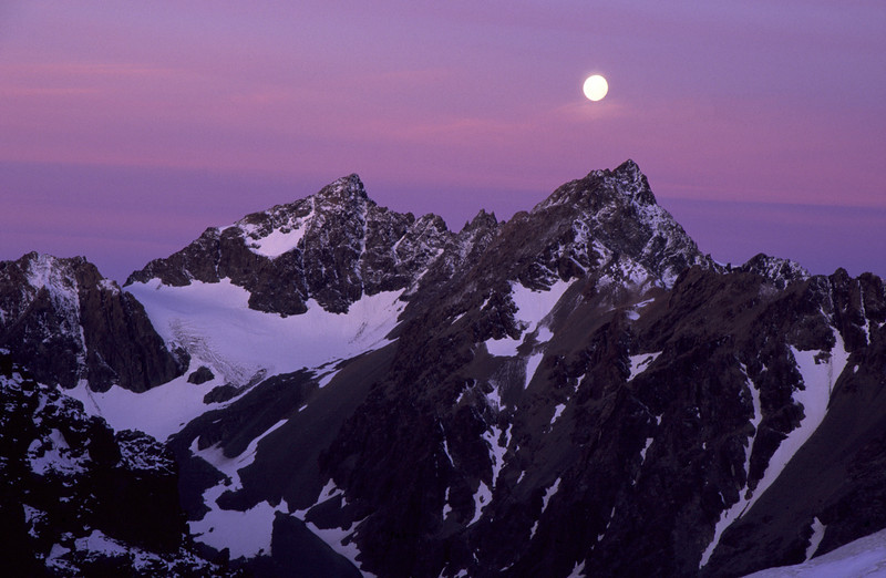 Full moon over The Abbot and The Abbess, Mt Cook National Park