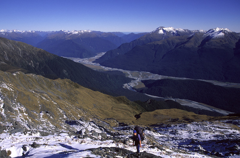 Near Upper Studholme Pass, Landsborough and Haast Rivers in the background
