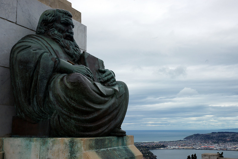 "Signal Hill, Dunedin. ""History"" sculpture, representing NZ's 1st. 100 years,"
