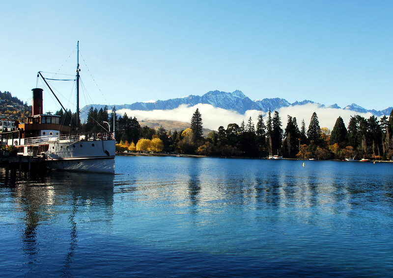 Th Earnslaw at rest in Queenstown Bay.
