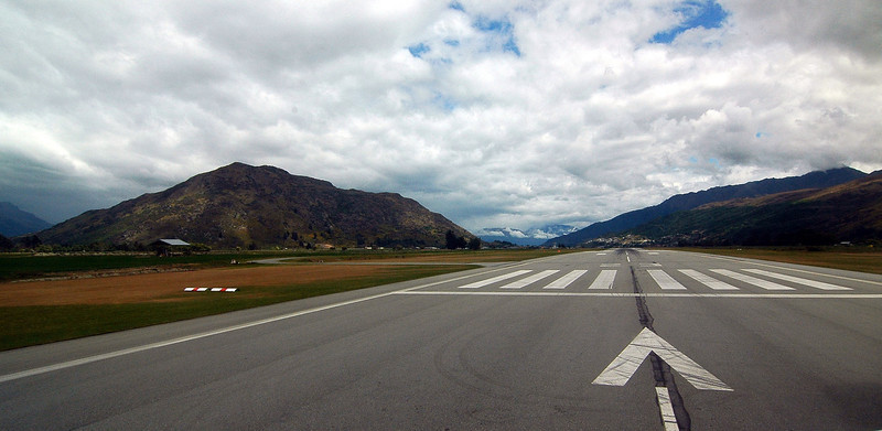 Queenstown Airpory runway, preparing for take-off.