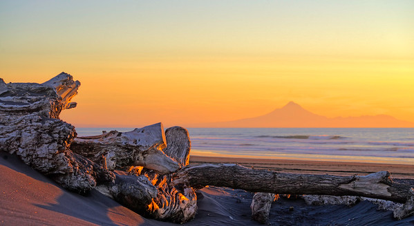 North Island Beach with Mount Egmont, New Zealand