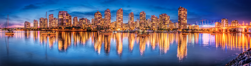 Panorama skyline in Vancouver, Canada