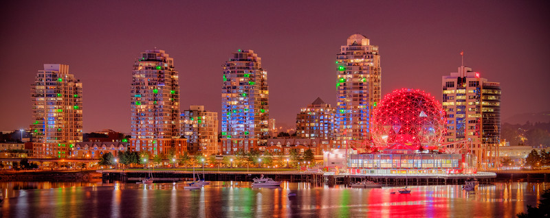 Skyline in Vancouver, Canada showing Science World
