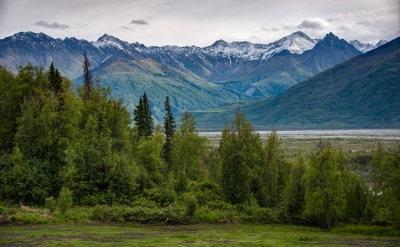 The view from our front porch in Palmer, Alaska at the Knik River Lodge