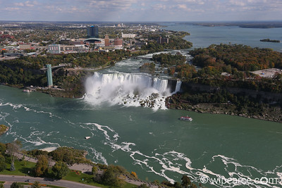 American Falls and Niagara River from the Skylon tower.