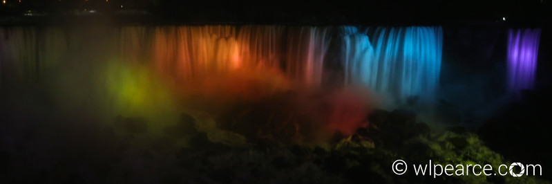 Niagara American Falls Night Rainbow colors.