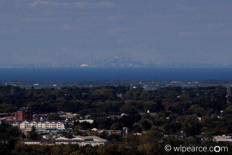 City of Niagara Falls, ON.  Lake Ontario and Toronto on a clear day from the Skylon Tower